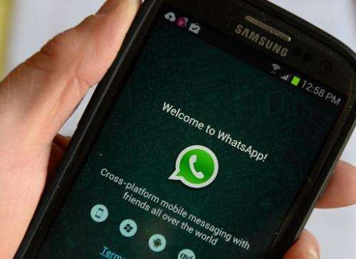 The logo of WhatsApp, the popular messaging service bought by Facebook, pictured on a smartphone in New York on February 20, 201
