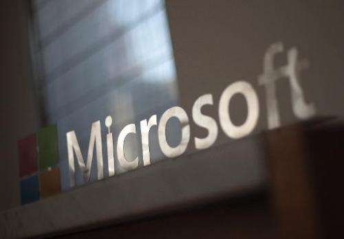 The Microsoft logo is seen before the start of a media event in San Francisco, California, March 27, 2014
