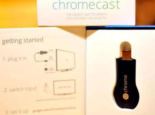 The new Google Chromecast is arranged on a table at a media event at Dogpatch Studios on July 24, 2013 in San Francisco, Califor
