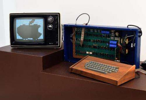 'The Ricketts' Apple-1 Personal Computer sits on display at a press preview at Christie's on December 5, 2014 in New York