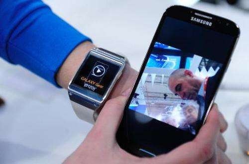 The Samsung Gear smartwatch is presented at the Mobile World Congress in Barcelona, Spain, on February 24, 2014