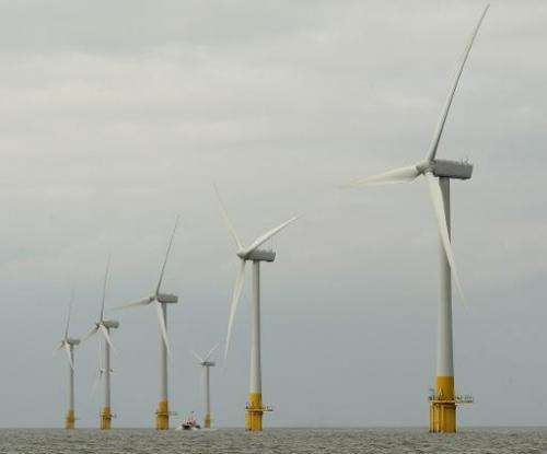 The Scroby Sands wind farm off the coast of Norfolk, England