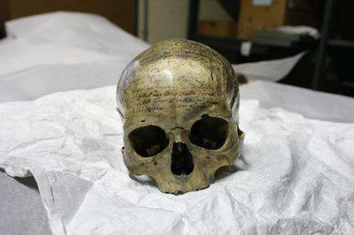 The skull of French philosopher, mathematician and physicist Rene Descartes, seen at Musee de l'Homme (Museum of Mankind) on Mar