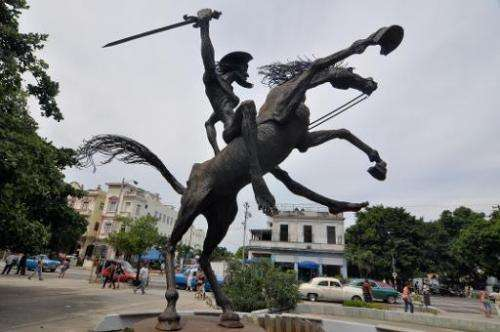 The statue of Don Quijote de la Mancha on display in Havana, Cuba, on October 18, 2012