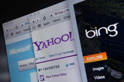 The websites of Bing, Microsoft and Yahoo are displayed on a computer monitor July 29, 2009 in San Anselmo, California