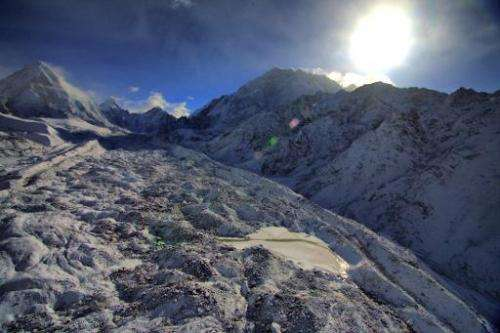 This file picture taken on May 11, 2009 shows the Khumbu glacier in the Everest-Khumbu region, one of the longest glaciers in th