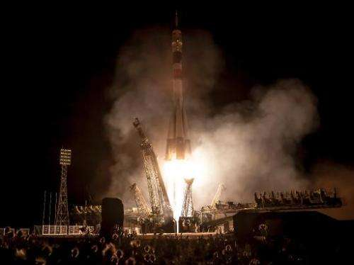 This photo provided by NASA shows a Soyuz rocket launching from the Baikonur Cosmodrome in Kazakhstan to the International Space