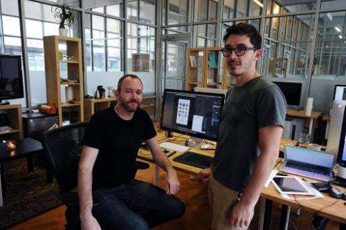 Thomas Gayno (R) and Jeff Baxter,  two former Google employees, develop their mobile voice messaging app, Cord, at their office