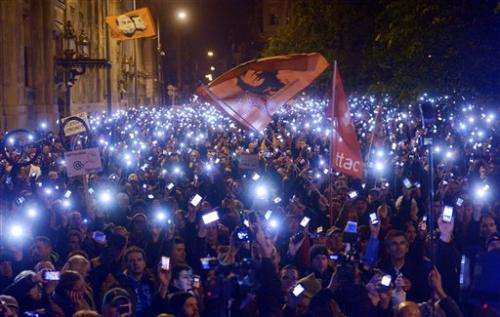 Thousands in Hungary march against Internet tax (Update)