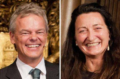 Two photos taken on September 5, 2014, in Hamburg, Germany, show Norwegian scientists Edvard I Moser (L) and May-Britt Moser aft