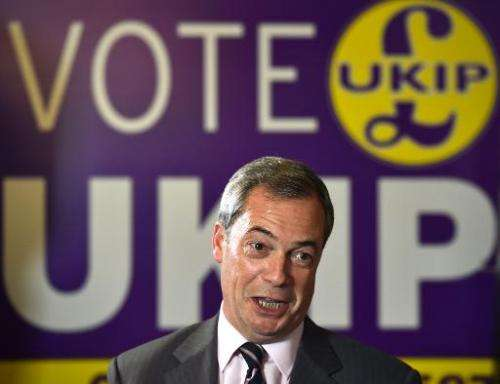 UKIP leader Nigel Farage in Rochester, Kent on November 21, 2014, the day after the party won a second seat in Parliament in a b
