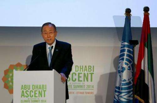 UN Secretary General Ban Ki-moon gives a speech meeting to prepare for the climate change summit in New York on May 4, 2014 in A