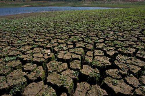 View of cracked ground in an area that used to be underwater at the Jaguari dam, in Vargem, 100km from Sao Paulo, during a droug