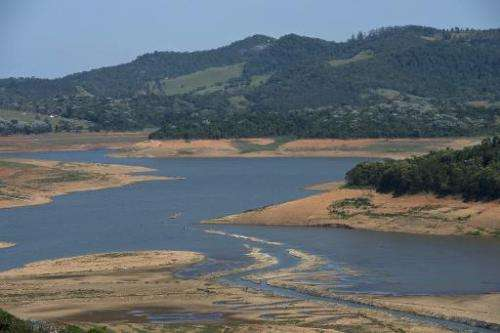 View of the Jacarei river dam during a drought affecting Sao Paulo state, in Piracaia, on November 19, 2014
