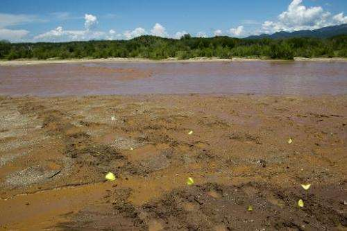 View of the polluted waters of Sonora River, in the Ures community, Sonora state, Mexico, on August 12, 2014