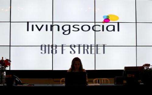 View of the reception desk at Living Social in Washington on June 26, 2012