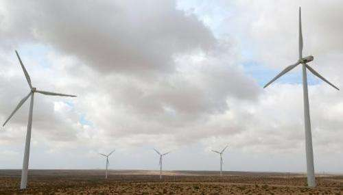 Wind turbines are seen at the Tarfaya wind farm in southwestern Morocco on May 14, 2013