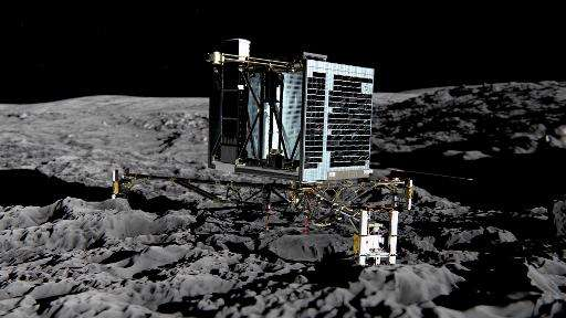 An artist's impression of Rosetta's lander Philae (back view) on the surface of comet 67P/Churyumov-Gerasimenko