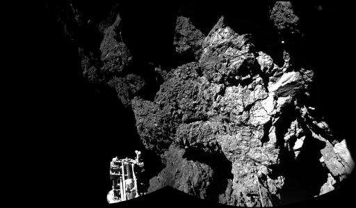 An image taken by Rosetta's Philae on comet 67P/Churyumov-Gerasimenko shows part of the lander, in a photo released by the Europ