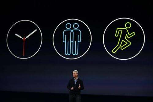 Apple CEO Tim Cook announces the Apple Watch during an Apple special event at the Yerba Buena Center for the Arts on March 9, 20