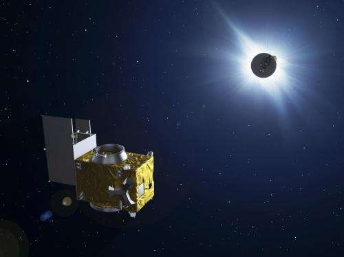 Astronaut plus Proba minisats snap solar eclipse