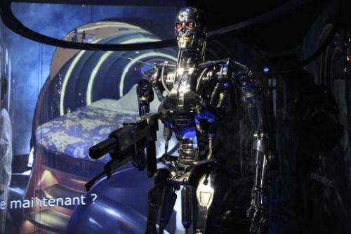 "A terrifying killer liquid metal robot from a blockbuster ""Terminator"" science fiction film, as this one seen at a Par"
