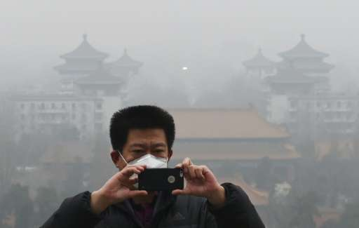 A visitor takes photos in Jingshan park as pollution levels soared above safe levels in Beijing