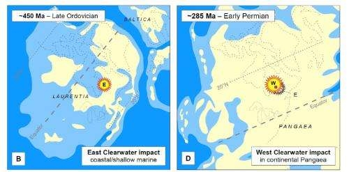 Double impact crater in Canada formed in two separate impacts