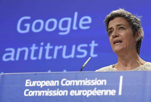 European competition commissioner Margrethe Vestager speaks on April 15, 2015 in Brussels as the EU formally charged Google with