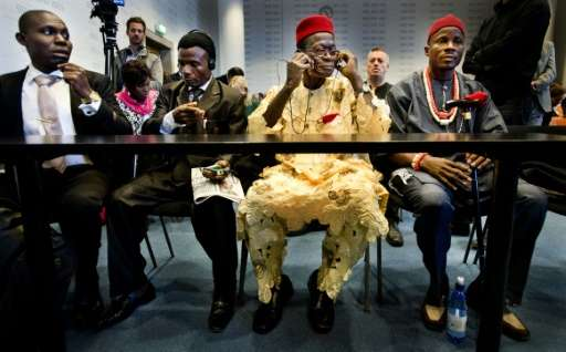 Four Nigerian farmers, seen here in court in The Hague in 2012, first filed the case against Shell in 2008
