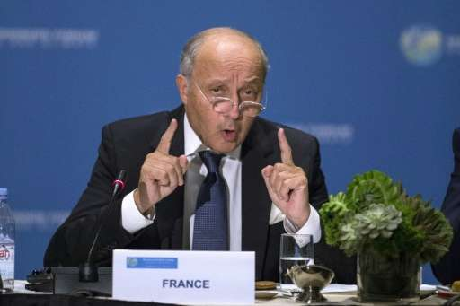 French foreign minister Laurent Fabius, pictured on September 29, 2015, urged countries which have yet to publish greenhouse gas