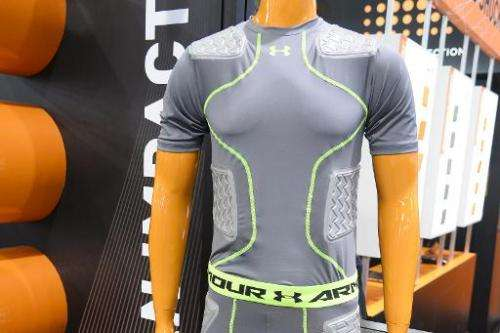 Garments from Under Armour with integrated D30 impact protection material are displayed at the Consumer Electronics Show in Las