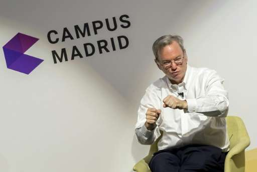 Google Executive Chairman Eric Schmidt speaks at the new Madrid campus that opened last month in the Spanish capital