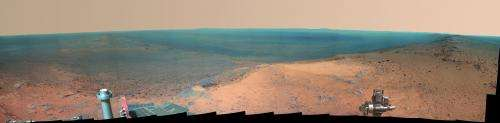Hilltop panorama marks mars rover's 11th anniversary