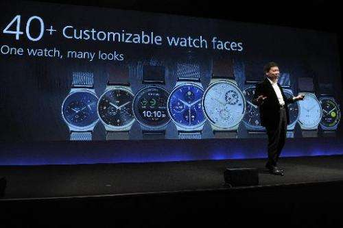 """Huawei's Consumer Business Group Chief Executive Officer (CEO) Richard Yu presents his company's new device """"Huawei Watch&q"""