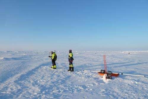 IceBridge overflies Norwegian camp on drifting sea ice