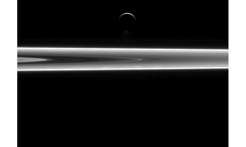 Image: Enceladus and Saturn's rings