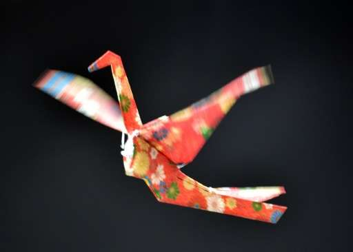 Japan's electronics maker Rohm demonstrate a remote controlled flying paper crane, during a preview of Asia's largest electronic