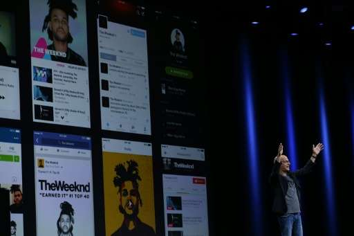 Jimmy Iovine announces Apple Music during Apple WWDC in San Francisco, California on June 8, 2015