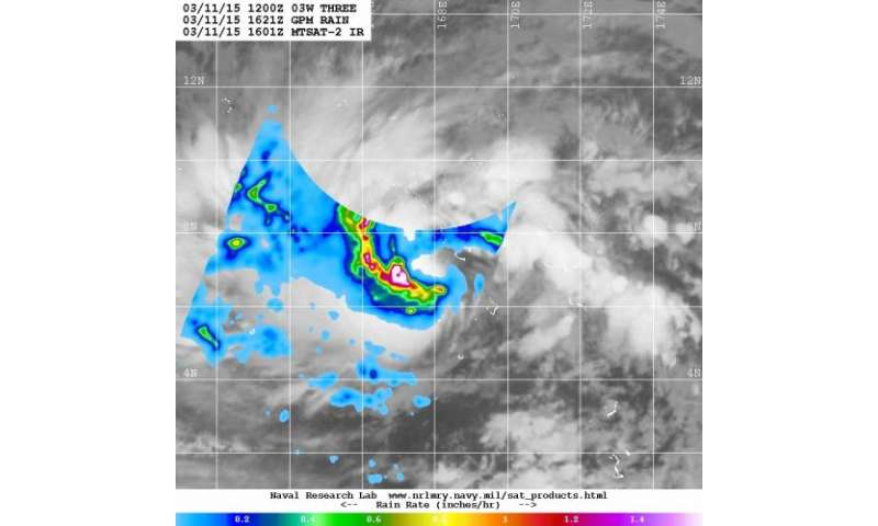 NASA-JAXA's GPM sees birth of Tropical Depression 3W in northwestern Pacific