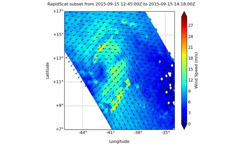 RapidScat and Aqua Satellite See Tropical Depression 9 Developing