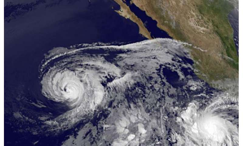 Satellite imagery shows a weaker Hurricane Andres