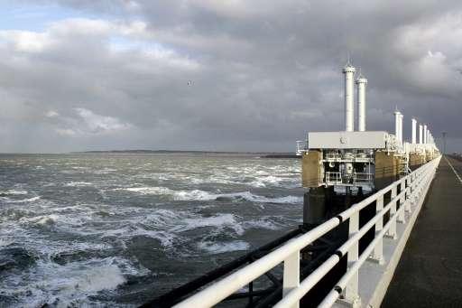 The Eastern Scheldt storm surge barrier (Oosterscheldekering) in Vrouwenpolder, The Netherlands