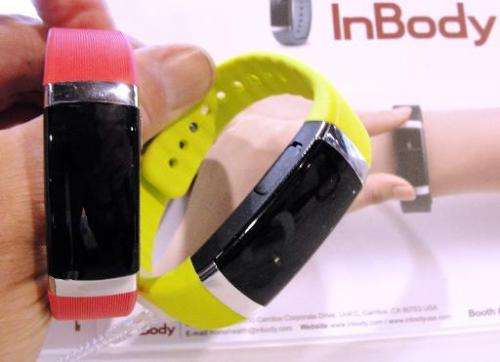 The InBody activity tracker and body fat sensor is displayed on January 7, 2015 at the Consumer Electronics Show in Las Vegas Ne