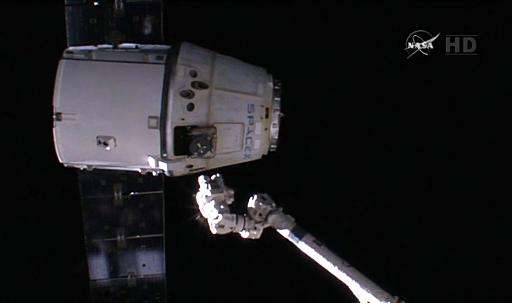 The SpaceX Dragon departs the International Space Station carrying hardware and experiments, as shown in this video grab on Febr