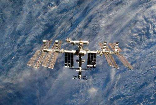 This March 7, 2011, NASA file image shows a close-up view of the International Space Station