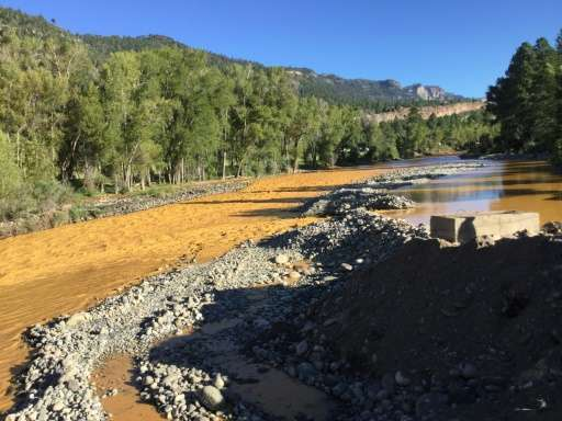 This photo provided by La Plata County in Colorado on August 10, 2015 shows the orange colored Animas River near Durango, Colora