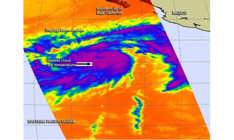 Two NASA satellites see Tropical Storm Andres intensify