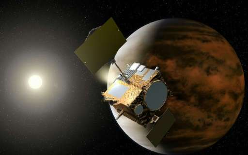 "An artist's impression of the Planet-C Venus Climate Orbiter, nicknamed ""Akatsuki"" or ""Dawn"", orbiting Venus"