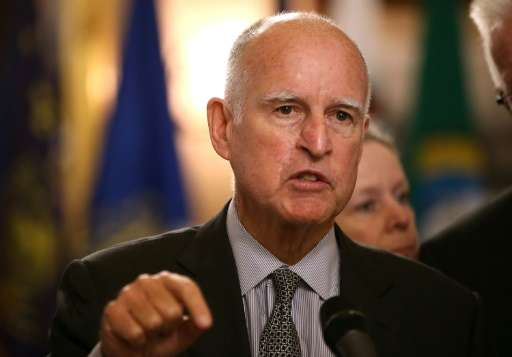 California Governor Jerry Brown speaks on May 19, 2015 in Sacramento, California